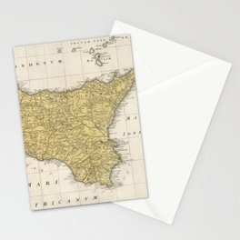Vintage Map of Sicily Italy (1747) Stationery Cards