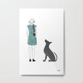 Photographer girl and dog Metal Print