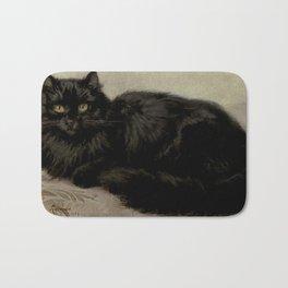 Vintage Painting of a Black Cat (1903) Bath Mat
