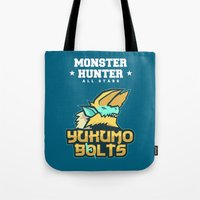 monster hunter Tote Bags featuring Monster Hunter All Stars - The Yukumo Bolts by Bleached ink