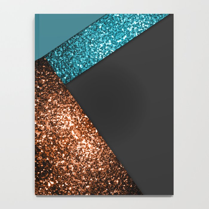 Aqua blue and bronze sparkles modern color block art Notebook