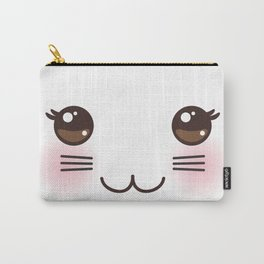 Kawaii funny cat muzzle with pink cheeks and big black eyes on white background Carry-All Pouch