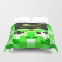 gameboy Duvet Covers featuring Gameboy Color Green Creeper by Veylow