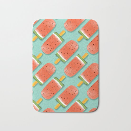 Watermelon Popsicles Pattern #society6 #decor #buyart Bath Mat
