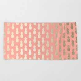 Gold Pineapples on Coral Pink Beach Towel