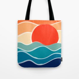 Retro 70s and 80s Color Palette Mid-Century Minimalist Nature Waves and Sun Abstract Art Tote Bag