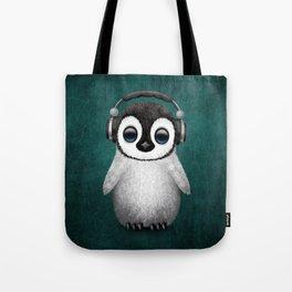 Cute Baby Penguin Dj Wearing Headphones on Blue Tote Bag