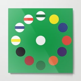 Pool Table Wall Clock [Green] Metal Print