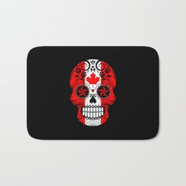 Sugar Skull with Roses and Flag of Canada Bath Mat