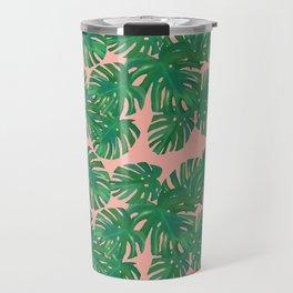 Monstera Stripe on Pink Travel Mug