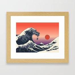 The Great Wave of Black Pug Framed Art Print