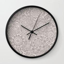 Delicate Lace Mandala Pattern (Grey/Cream) Wall Clock