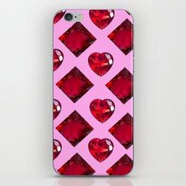 RUBY JEWELED  VALENTINE RUBY HEARTS  DESIGN iPhone Skin