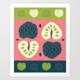 Tropical Paleo –Custard Apple in Pink Art Print