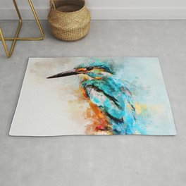 Watercolor kingfisher bird Rug
