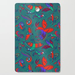 Pattern with Firebirds (on dark green background) Cutting Board