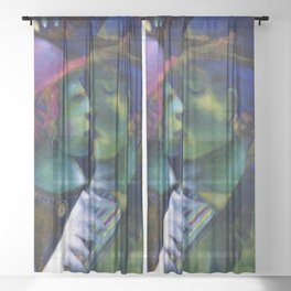 Green Lovers romantic Paris portrait painting by Marc Chagall Sheer Curtain