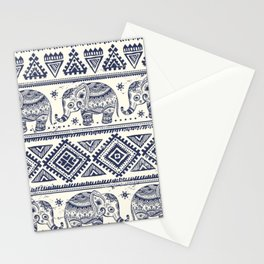 Vintage Elepant in Indian lotus ethnic illustration pattern Stationery Cards