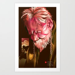 Old chap tired Art Print