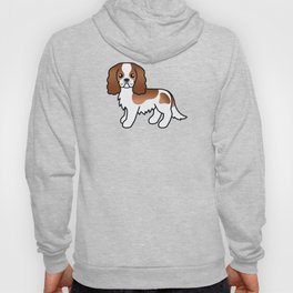Cute Blenheim Cavalier King Charles Spaniel Dog Cartoon Illustration Hoody