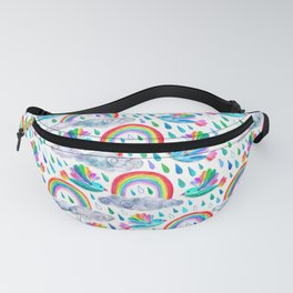 Spring Showers and Rainbow Birds on White Fanny Pack