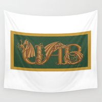 sports Wall Tapestries featuring UAB Sports Dragons by ZooLN Art