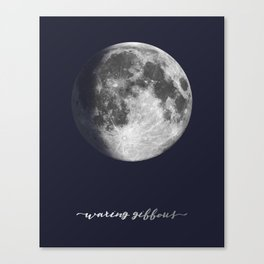 Waxing Gibbous Moon on Navy English Canvas Print