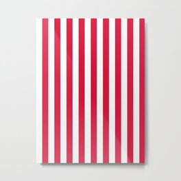 Narrow Vertical Stripes - White and Crimson Red Metal Print