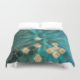 Multicolor Aqua And Gold Mermaid Scales -  Beautiful Abstract Pattern Duvet Cover