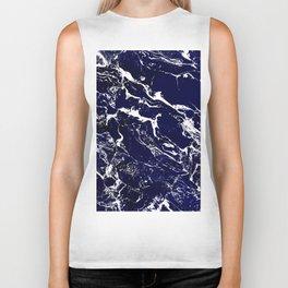 Modern Navy blue watercolor marble pattern Biker Tank