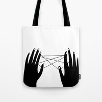 hands Tote Bags featuring Hands by Good Sense