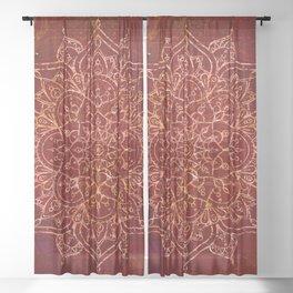 Rust Red Mandala Sheer Curtain