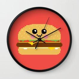 Happy Pixel Hamburger Wall Clock