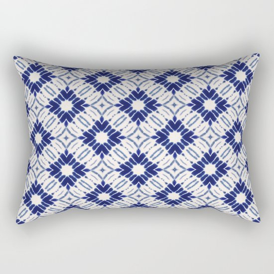 Watercolor Shibori Blue Rectangular Pillow