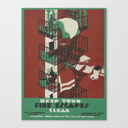 Vintage poster - Keep Your Fire Escapes Clear Canvas Print