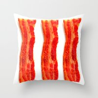 bacon Throw Pillows featuring Bacon by Spotted Heart