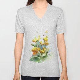 Watercolor yellow dandelion flowers Unisex V-Neck