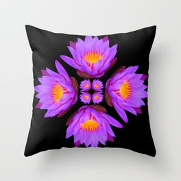 Purple Lily Flower - On Black Throw Pillow