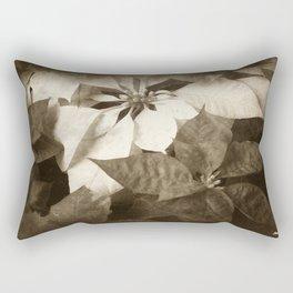 Mixed Color Poinsettias 2 Antiqued Rectangular Pillow