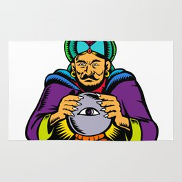 Fortune Teller With Crystal Ball Woodcut Rug