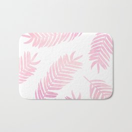 Pink Palm Leaves  |  White Background Bath Mat