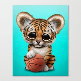 Tiger Cub Playing With Basketball Canvas Print