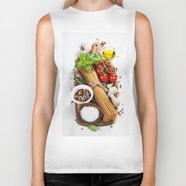 italian pasta with vegetables, herbs, spices, cheese and olive oil Biker Tank