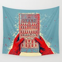 budapest Wall Tapestries featuring GRAND BUDAPEST HOTEL COLOR by Oleol