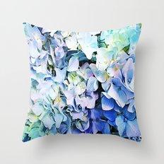 Soft Tri-Color Pastel Hydrangea Throw Pillow