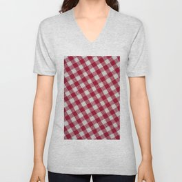 Red classic checkered tablecloth texture Unisex V-Neck