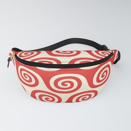 Mid Century Modern Wave Pattern Red & Beige Fanny Pack