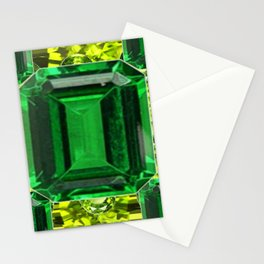 EMERALDS &  LIME GREEN PERIDOT GEMS BIRTHSTONES Stationery Cards