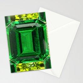 EMERALDS &  LIME GREEN PERIDOT GEMS BIRTHSTONES Stationery Cards