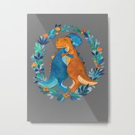 Dino Hugs Metal Print